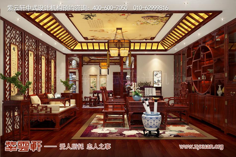济南别墅现代中式风格效果图,别墅书房现代中式风格效果图