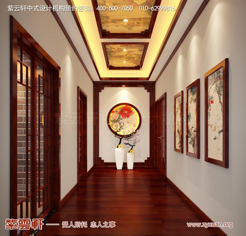 济南别墅现代中式风格效果图,别墅走廊现代中式风格效果图