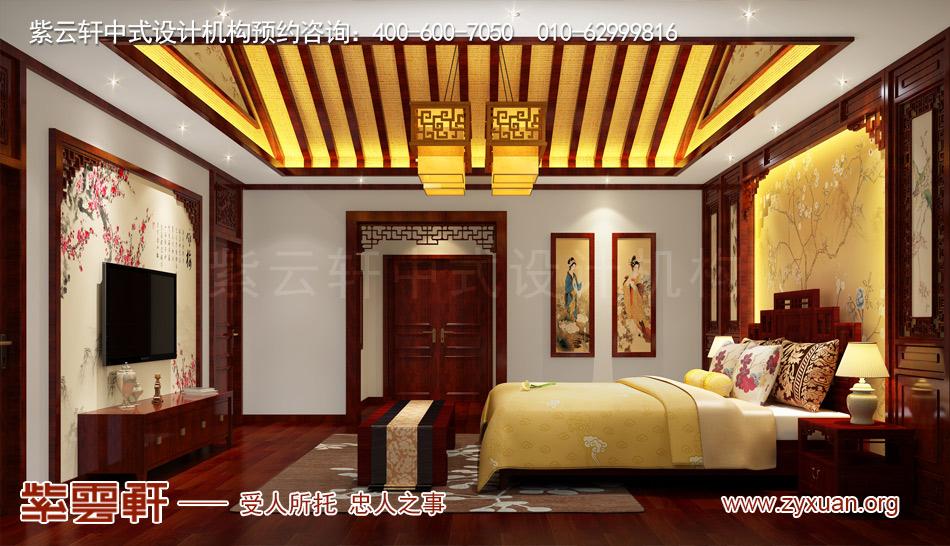 济南别墅现代中式风格效果图,别墅主卧现代中式风格效果图