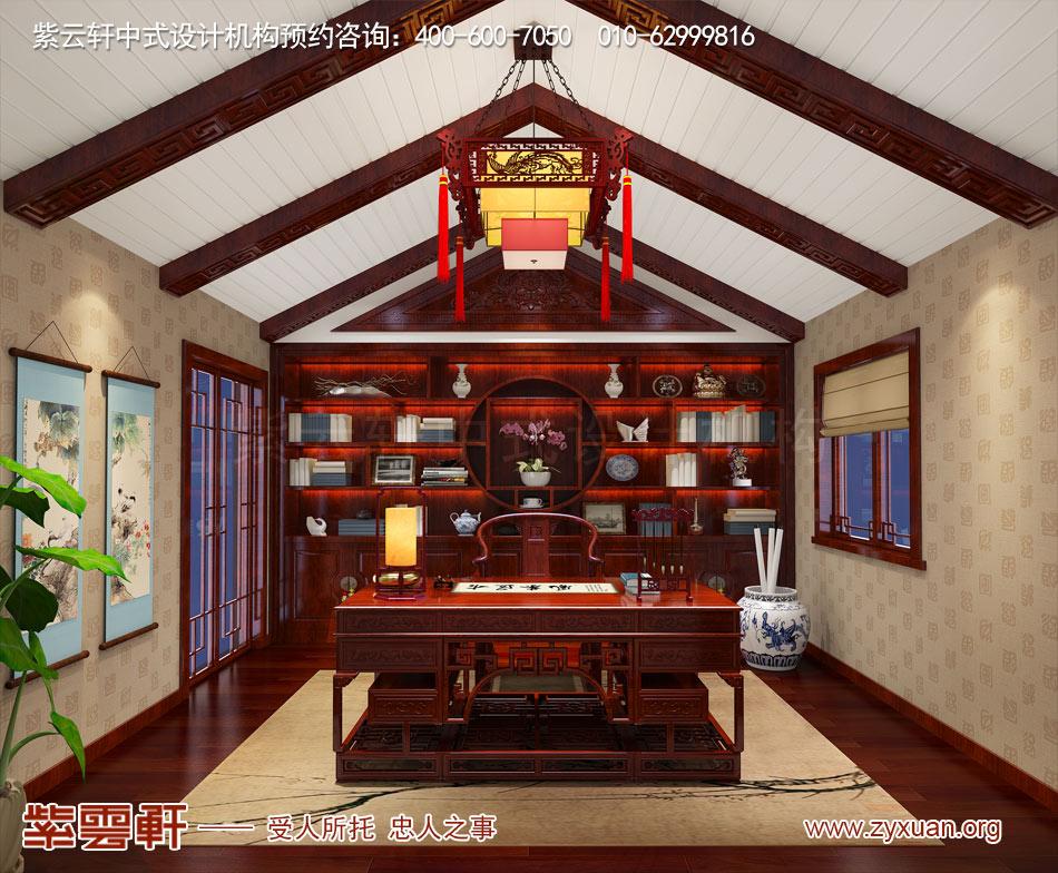 济南别墅现代中式风格效果图,别墅三层书房现代中式风格效果图