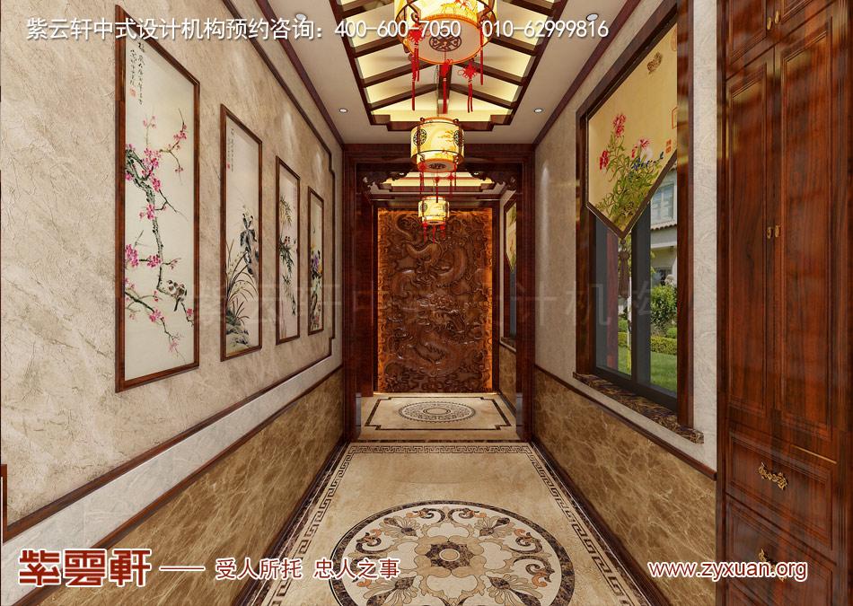 南昌独栋别墅现代中式风格效果图赏析,门厅现代中式风格效果图
