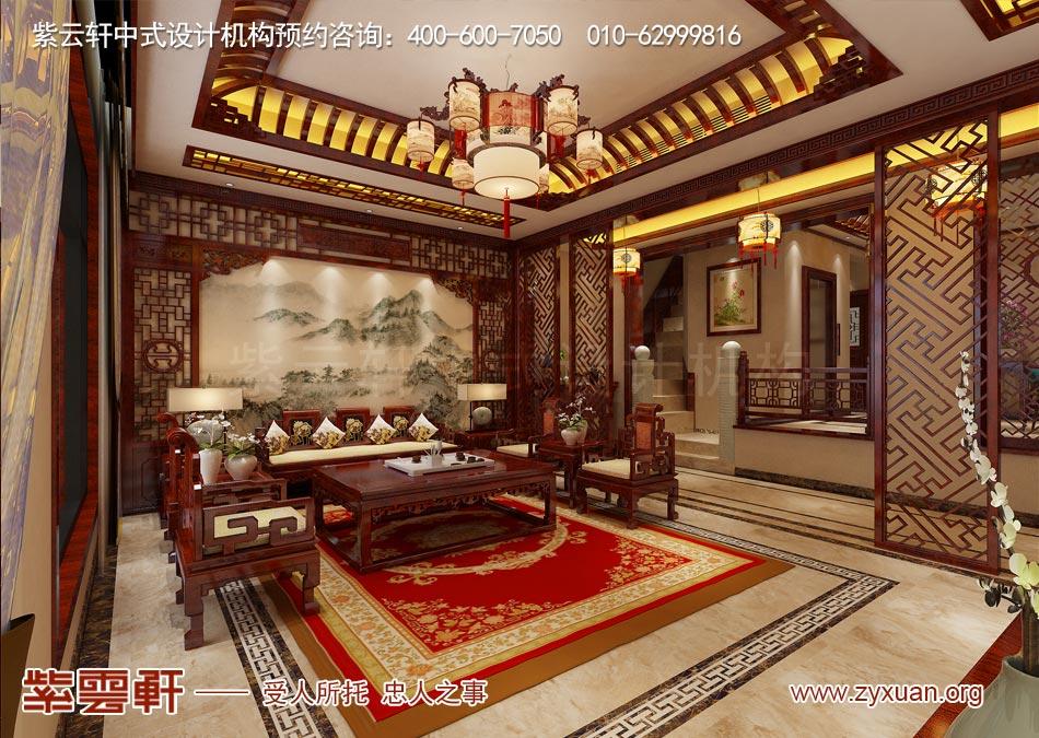 南昌独栋别墅现代中式风格效果图赏析,别墅客厅现代中式风格效果