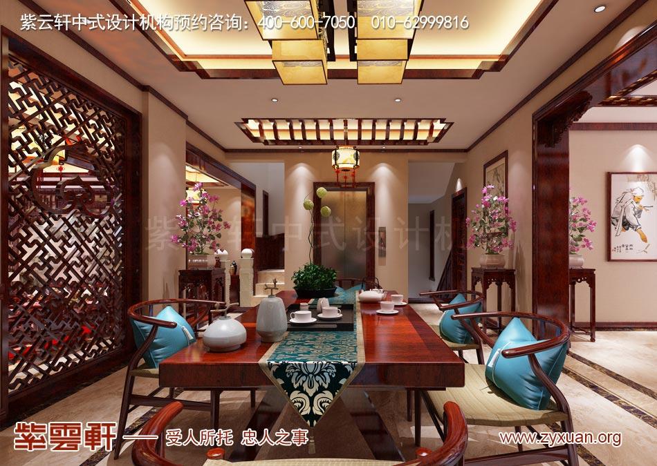 南昌独栋别墅现代中式风格效果图赏析,别墅茶区现代中式风格效果