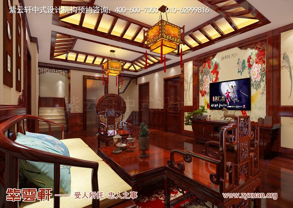 南昌独栋别墅现代中式风格效果图赏析,二层起居室现代中式风格效