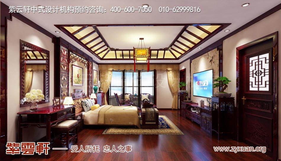南昌独栋别墅现代中式风格效果图赏析,二层老人房现代中式风格效