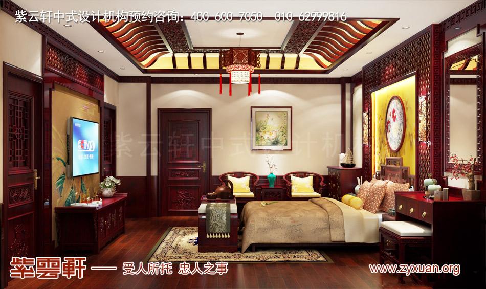 南昌独栋别墅现代中式风格效果图赏析,三层主卧现代中式风格效果