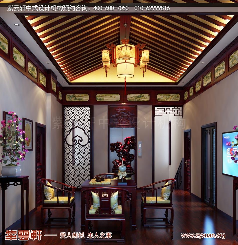 南昌独栋别墅现代中式风格效果图赏析,三层休息室现代中式风格效