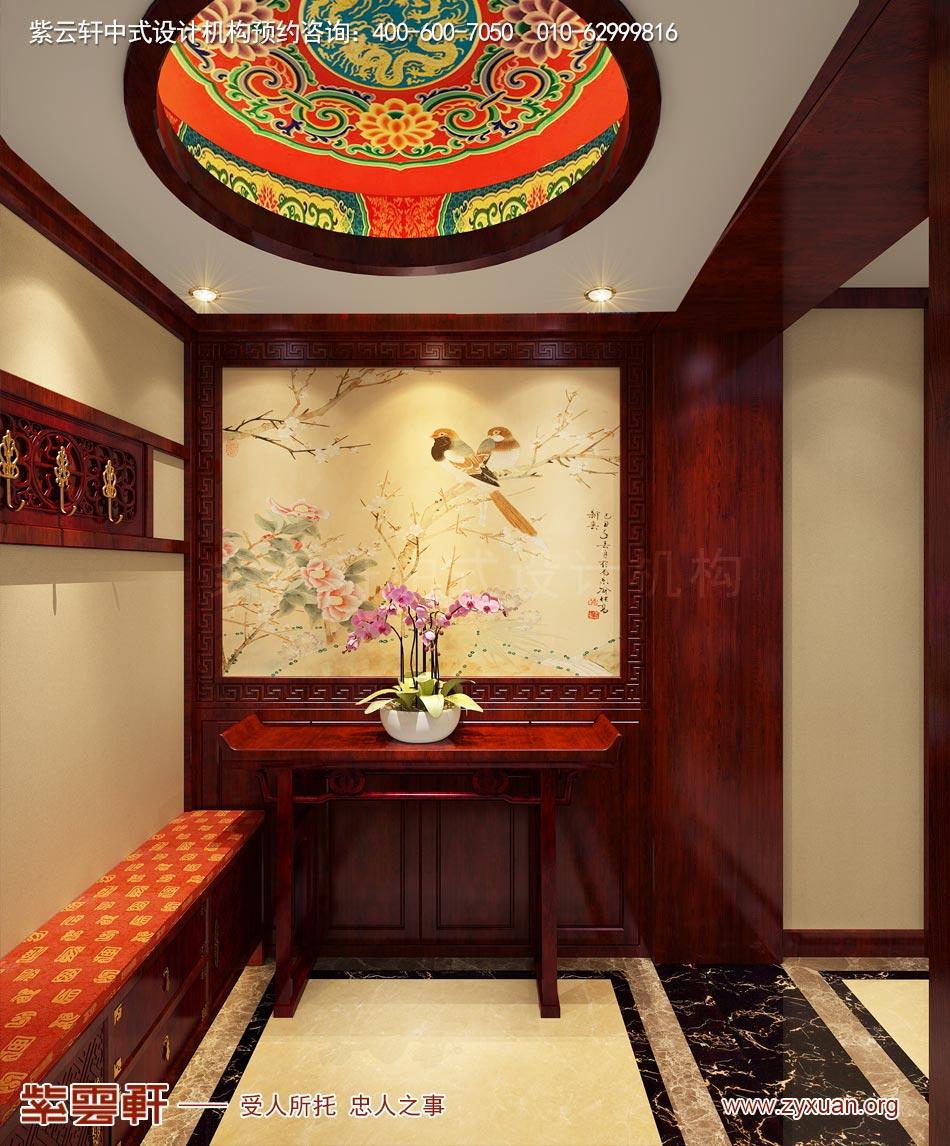 北京传统宫廷风格大平层装修效果图,传统宫廷风格平层玄关装修效