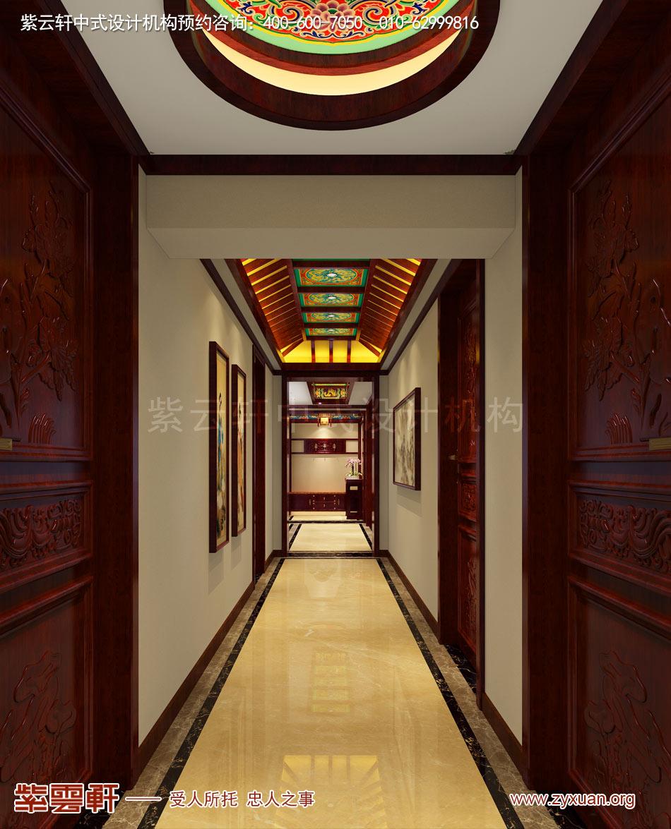 北京传统宫廷风格大平层装修效果图,传统宫廷风格平层过道装修效
