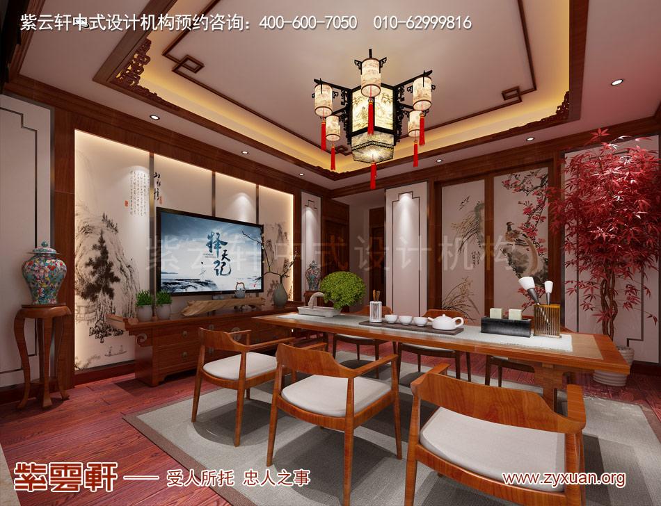 北京传统宫廷风格大平层装修效果图,传统宫廷风格平层茶室装修效
