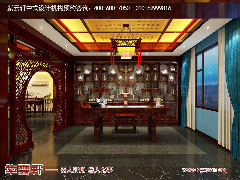 山西吕梁会所现代中式风格私人会所效果图展示,书房现代中式风格