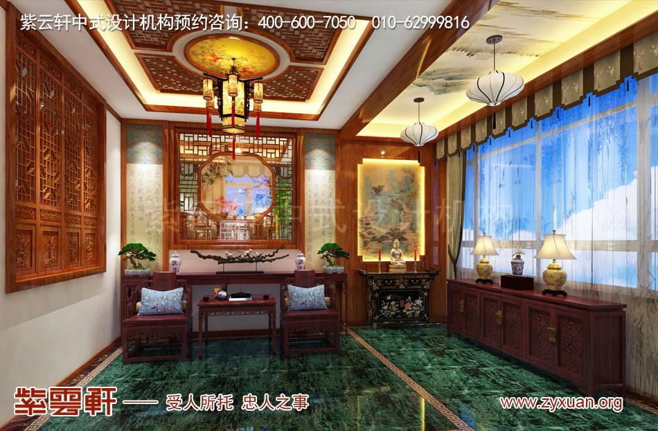长治冯总独栋别墅中式古典装修效果图,别墅门厅中式古典装修效果