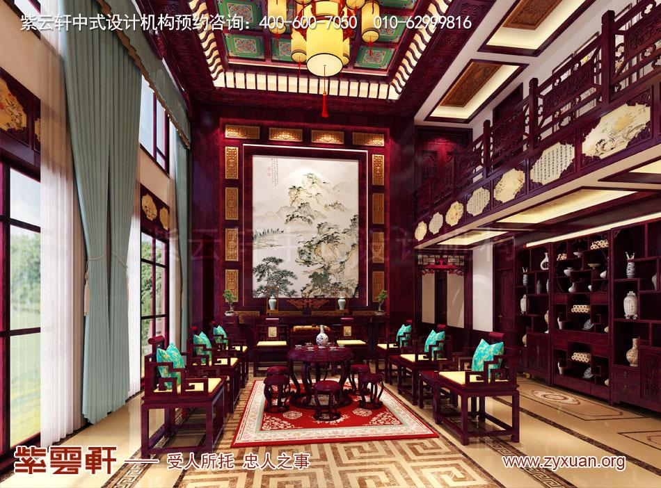 长治冯总独栋别墅中式古典装修效果图,别墅客厅中式古典装修效果