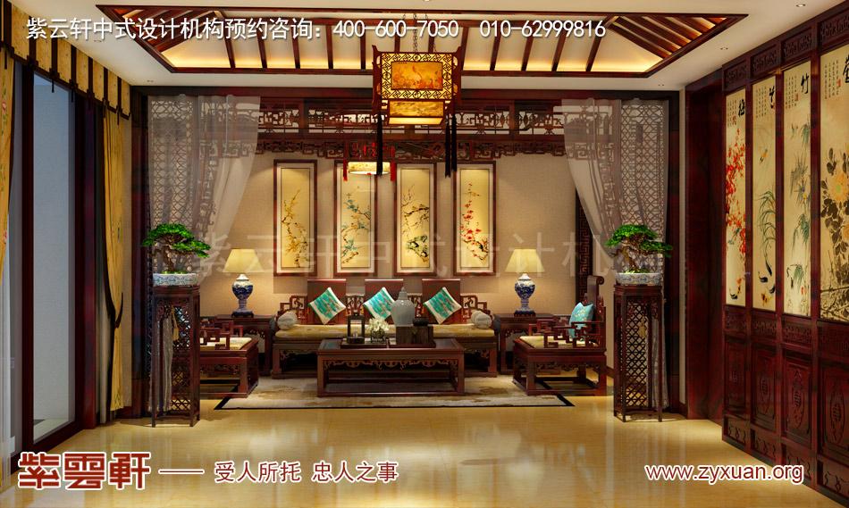 长治冯总独栋别墅中式古典装修效果图,餐后休息室中式古典装修效