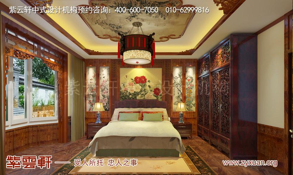 长治冯总独栋别墅中式古典装修效果图,别墅老人房中式古典装修效