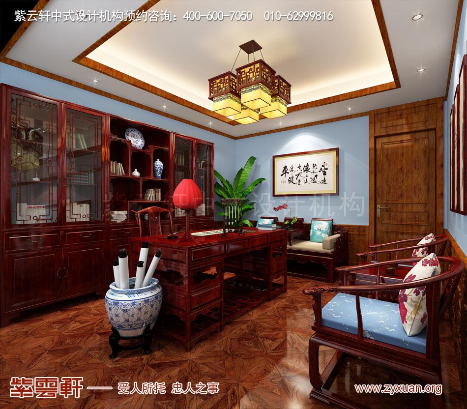 长治冯总独栋别墅中式古典装修效果图,别墅书房中式古典装修效果