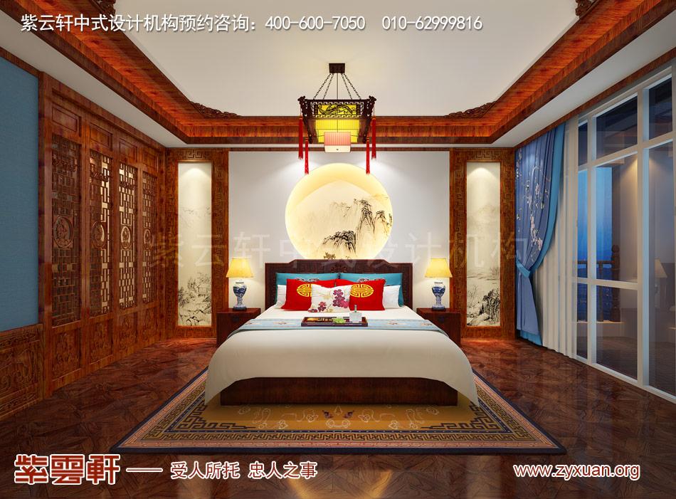 长治冯总独栋别墅中式古典装修效果图,别墅卧室中式古典装修效果