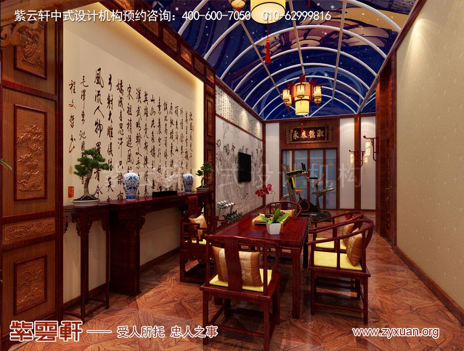 长治冯总独栋别墅中式古典装修效果图,别墅阳台中式古典装修效果