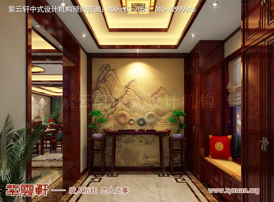 邓总传统古典中式别墅装修效果图,传统古典中式别墅玄关装修效果