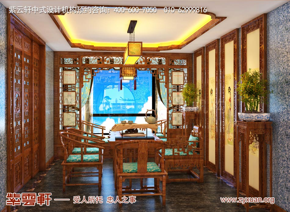 邓总传统古典中式别墅装修效果图,传统古典中式别墅茶室装修效果