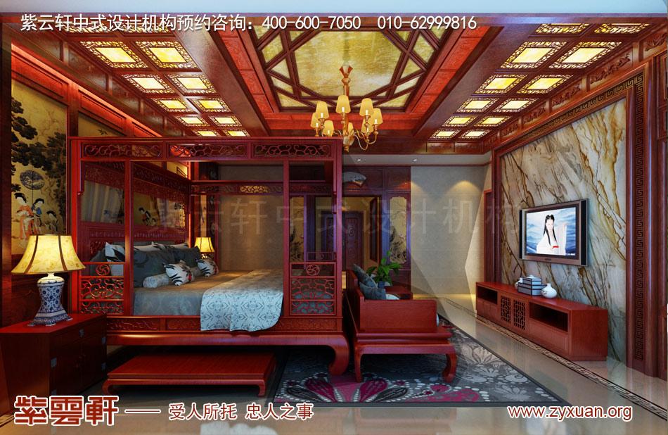 邓总传统古典中式别墅装修效果图,传统古典中式别墅主卧装修效果