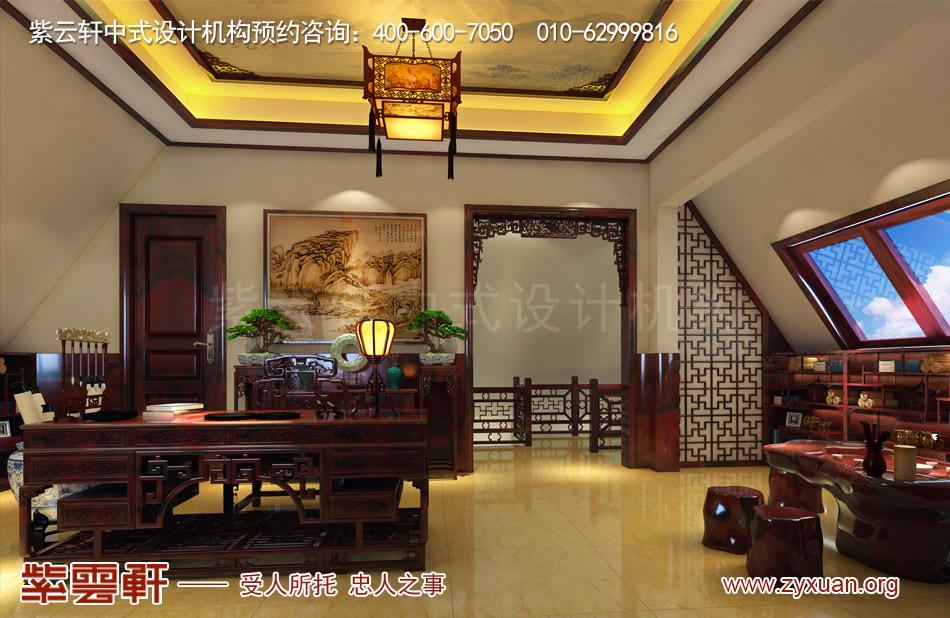 邓总传统古典中式别墅装修效果图,传统古典中式别墅书房装修效果