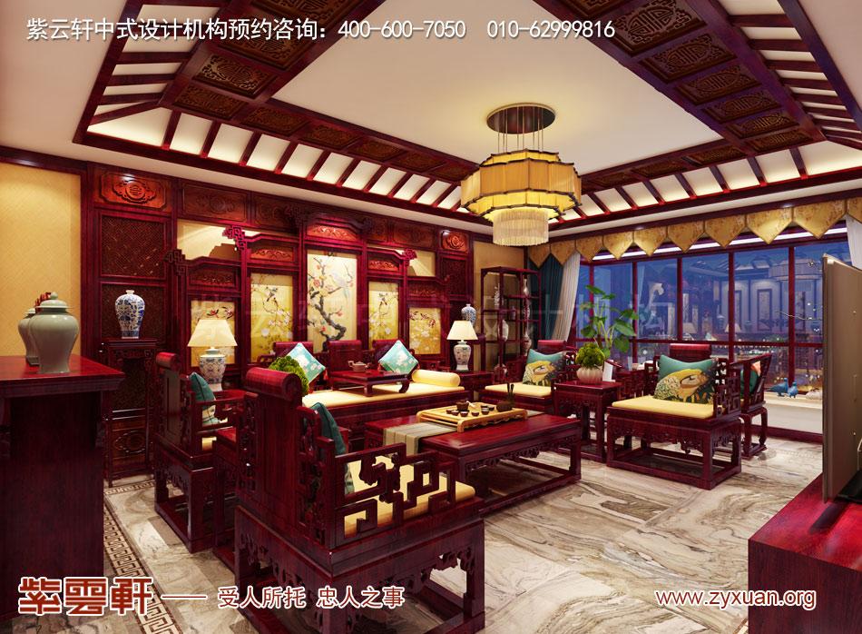 石家庄简约古典中式风格平层装修效果图案例欣赏,客厅简约古典中
