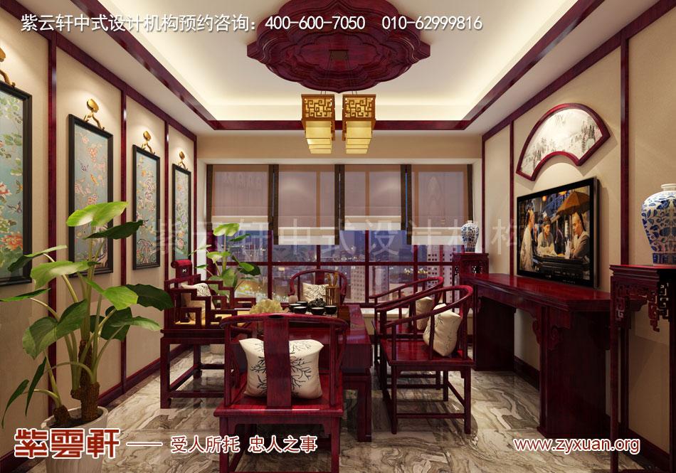 石家庄简约古典中式风格平层装修效果图案例欣赏,茶室简约古典中