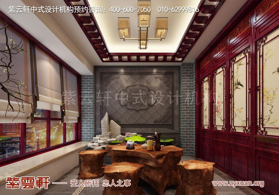 石家庄简约古典中式风格平层装修效果图案例欣赏,阳台简约古典中