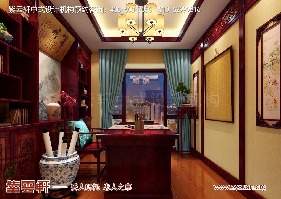 石家庄简约古典中式风格平层装修效果图案例欣赏,书房简约古典中