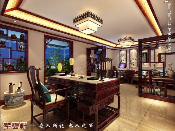 北京平层现代中式风格装修效果图,书房中式装修效果图