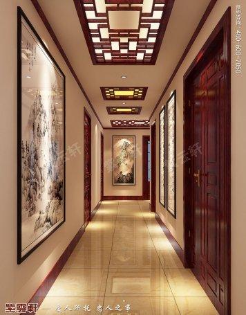 北京平层现代中式风格装修效果图,过道中式装修效果图