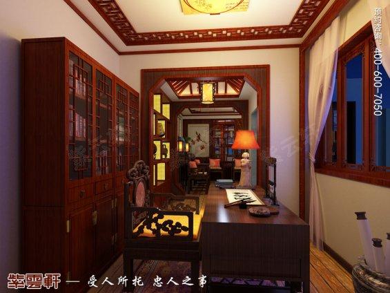 盐城平层装修效果图,书房古典中式装修风格