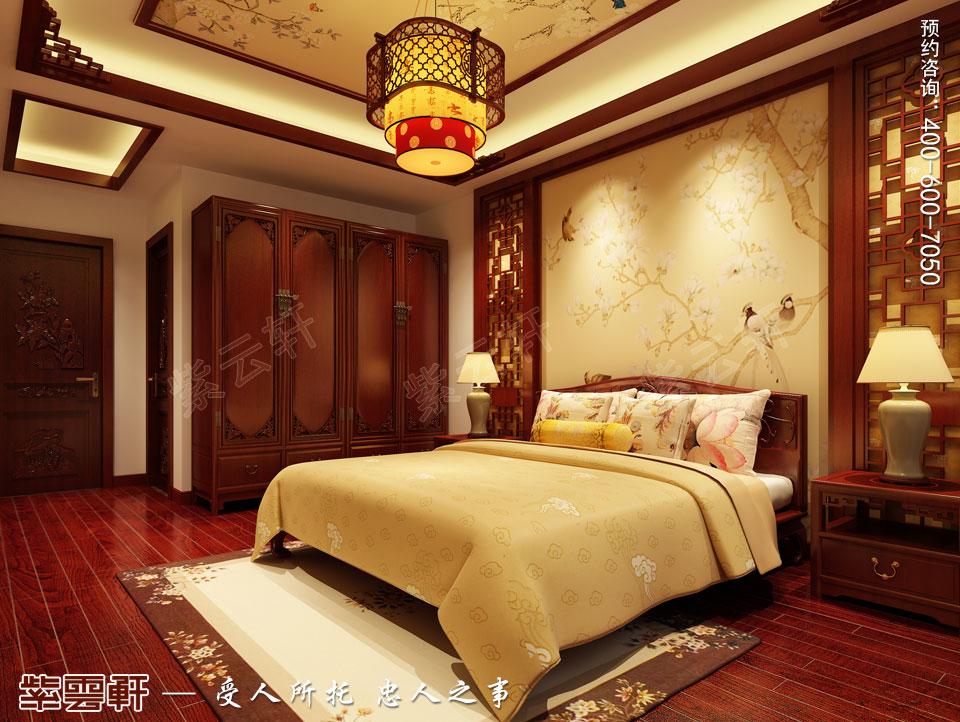 鹽城平層裝修效果圖,臥室古典中式裝修風格