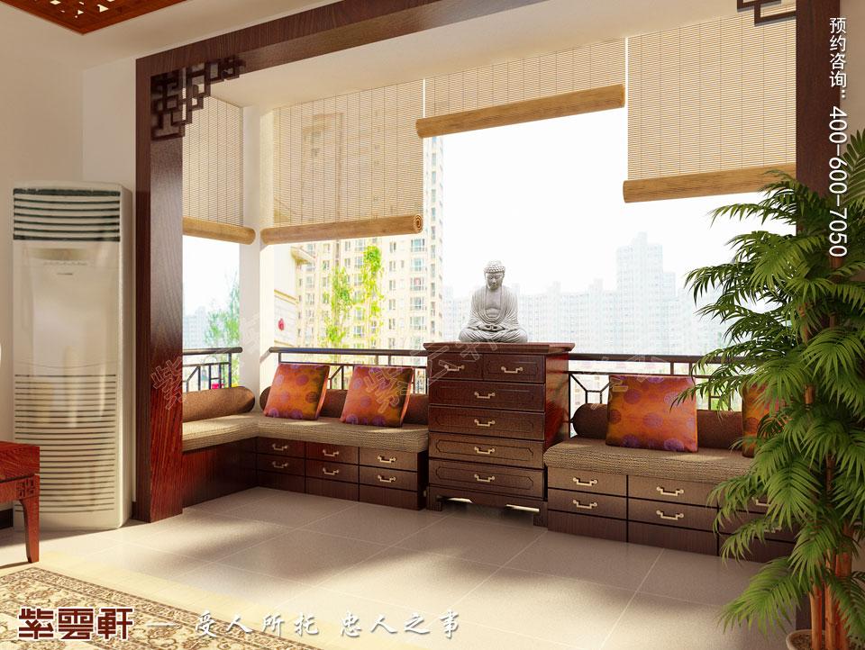 苏州精品住宅简约古典中式设计案例,阳台中式装修图