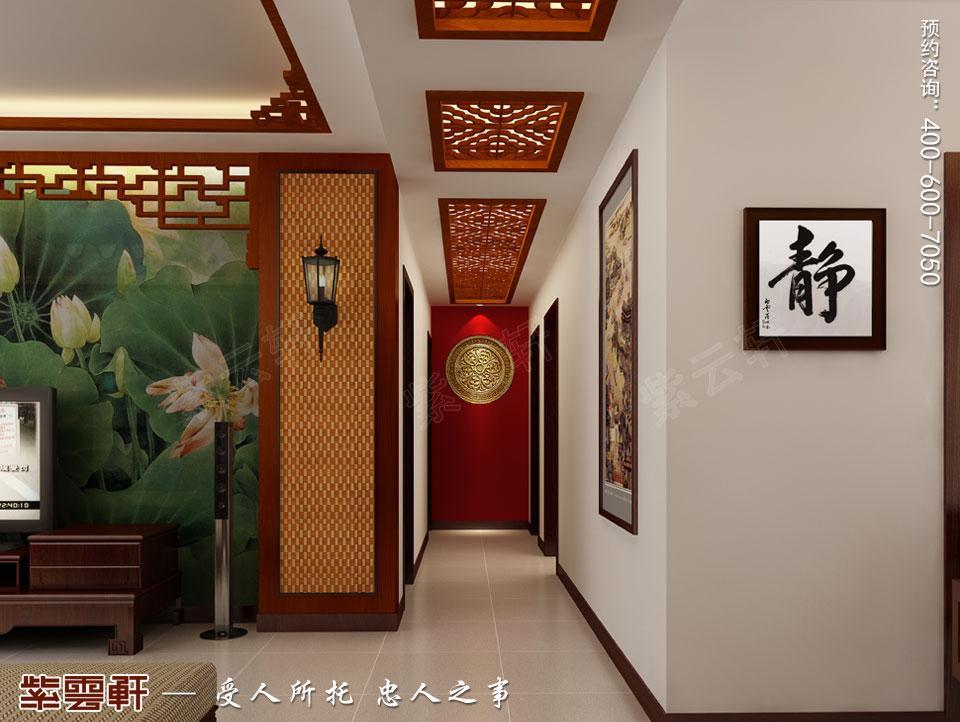 苏州精品住宅简约古典中式设计案例,过道中式装修效果图