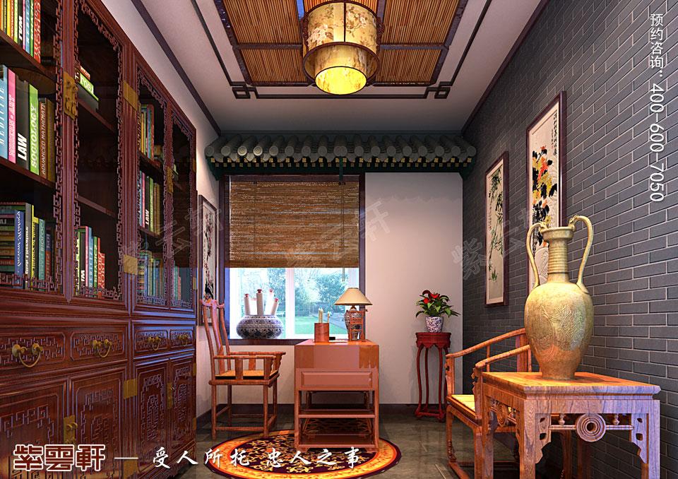 山东临沂简约古典中式设计平层住宅样板间案例,书房中式装修图
