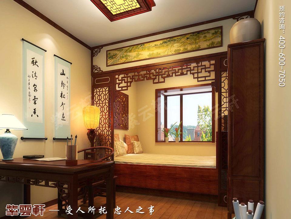 青岛古典中式设计精品住宅案例,书房中式装修图