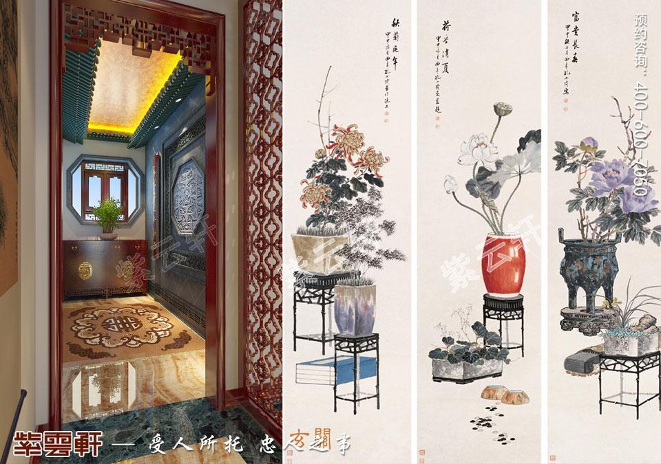江苏常州简约古典中式风格,玄关中式设计图