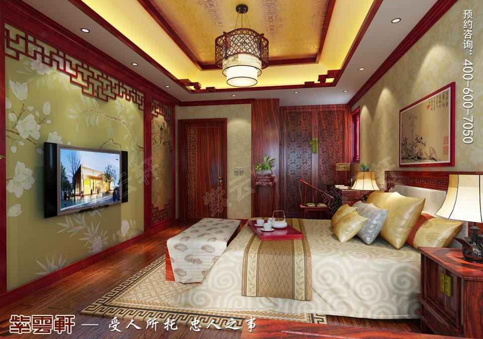 江苏常州简约古典中式风格,主卧中式装修效果图