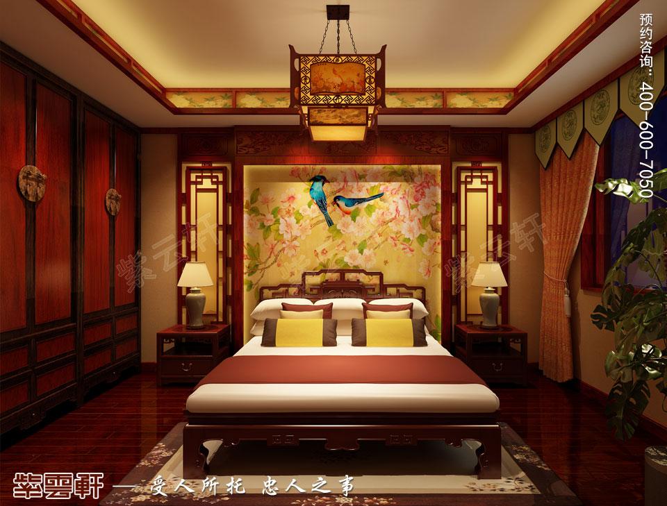 吉林长春古典中式设计精品住宅案例效果图欣赏,主卧中式装修