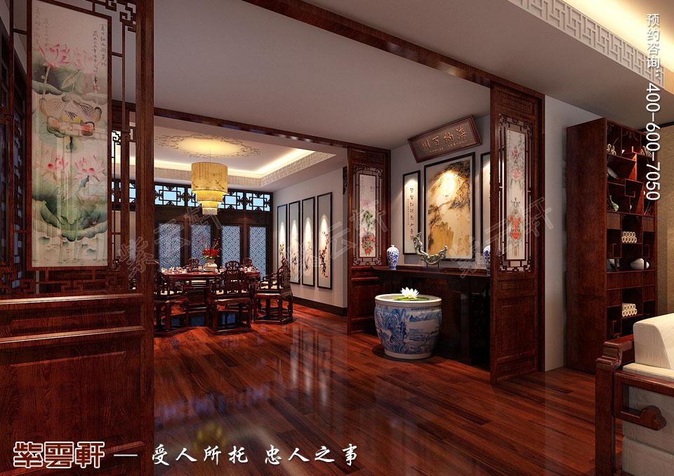太原平层大宅现代古典中式装修效果图,门厅中式装修图