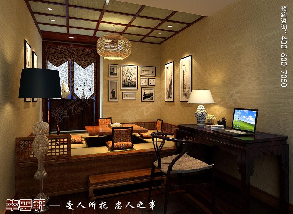 太原平层大宅现代古典中式装修效果图,茶室中式装修图