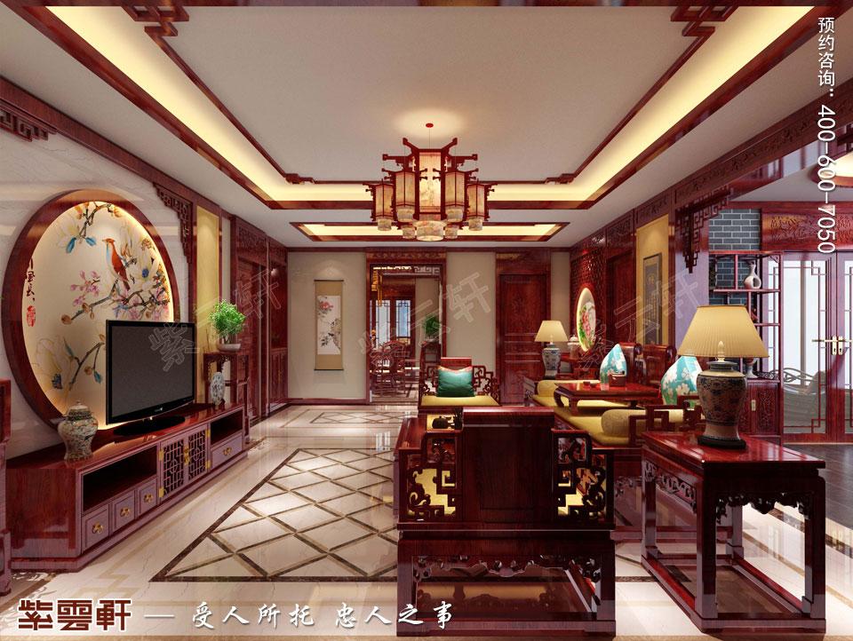 深圳平层住宅简约中式装修设计效果图,客厅中式设计效果图