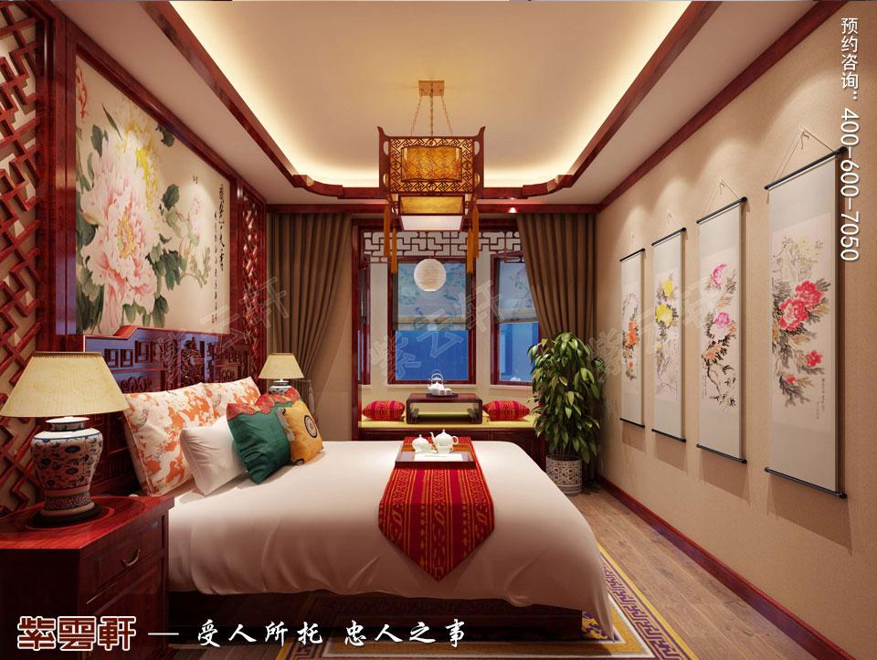 山西晋城现代中式装修效果图,主卧中式装修效果图