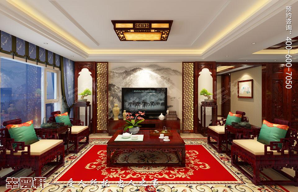 张家口平层现代中式装修效果图,客厅中式装修图片