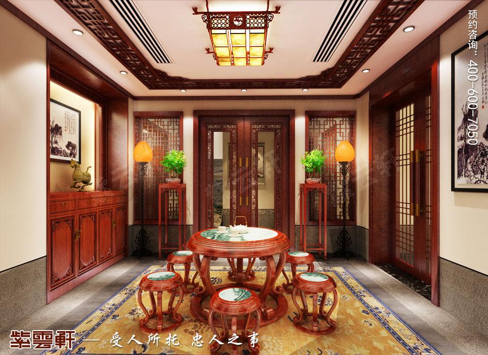 张家口平层现代中式装修效果图,中式茶室装修效果图