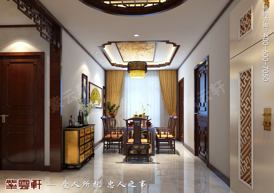 山西临汾新中式风格装修平层住宅案例,餐厅中式装修图