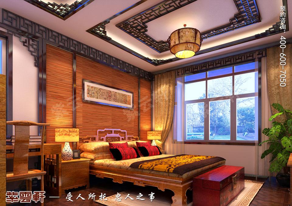 山西临汾新中式风格装修平层住宅案例,卧室中式装修图