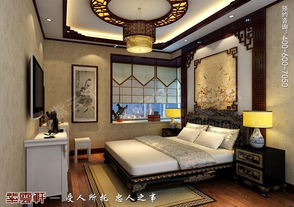 山西临汾新中式风格装修平层住宅案例,主卧中式风格装修图